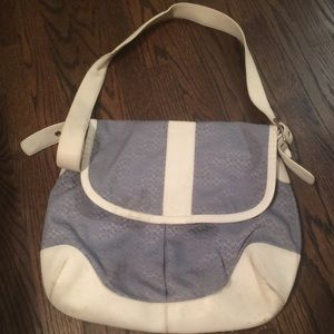 Well loved blue Coach messenger/laptop bag